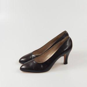 Salvatore Ferragamo Brown Leather Almond Heel